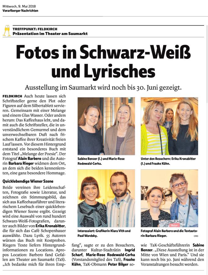 Feldkirch, Erika Kronabitter, Barbara Rieger, Alain Barbero, Melange der Poesie, Theater am Saumarkt